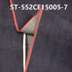 "ST-552CE15005-7 Cotton spandex slub twill selvedge denim  12OZ 35/36"" (Blue cow red and white b"