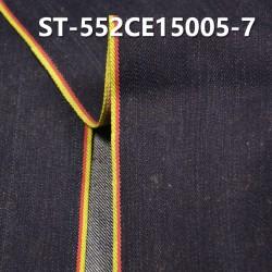 "ST-552CE15005-7 Cotton spandex slub twill selvedge denim  12OZ 35/36"" (Blue cow red yellow edge"