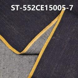 "ST-552CE15005-7 Cotton spandex slub twill selvedge denim  12OZ 35/36"" (Blue cow yellow edge"