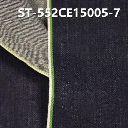 "ST-552CE15005-7 Cotton spandex slub twill selvedge denim  12OZ 35/36"" (Blue cow green write edg"
