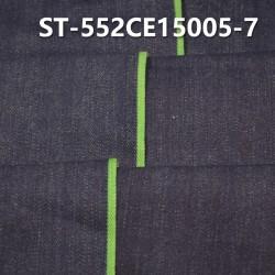 "ST-552CE15005-7 Cotton spandex slub twill selvedge denim  12OZ 35/36"" (Blue cow green edge"